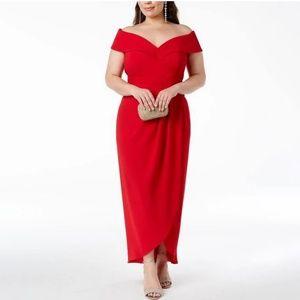 516fc6e1980ae Xscape · XSCAPE Plus Size Off-The-Shoulder Gown